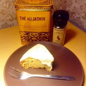 Jasmine tea cake with honey buttercream frosting