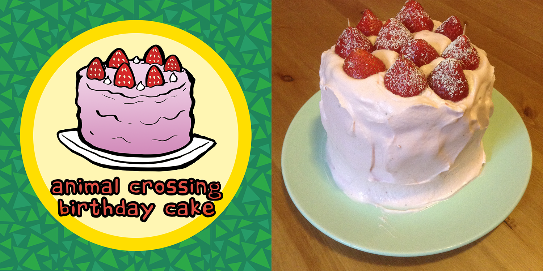Fabulous Animal Crossing Birthday Cake Strawberry And Vanilla Chiffon Personalised Birthday Cards Veneteletsinfo